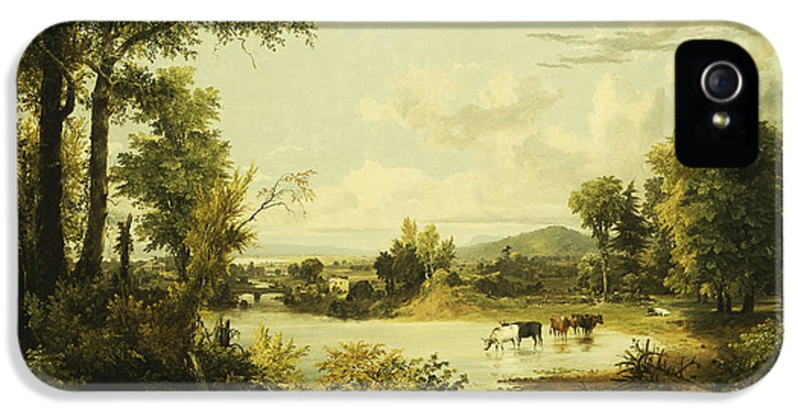 River IPhone 5 Case featuring the painting The Quiet Valley by Jasper Francis Cropsey