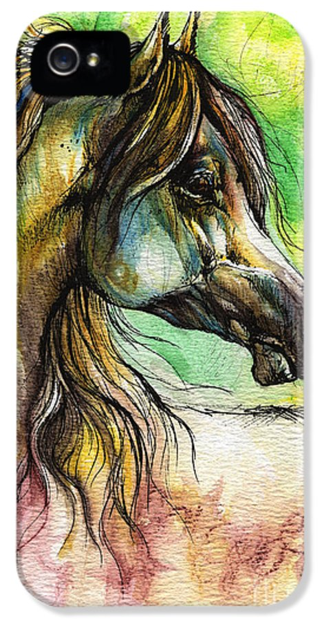 Horse IPhone 5 Case featuring the painting The Rainbow Colored Arabian Horse by Angel Tarantella