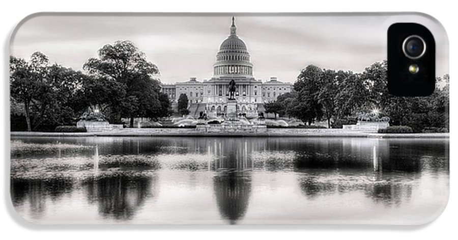 Capital IPhone 5 Case featuring the photograph The Republic Awakens Bw by JC Findley