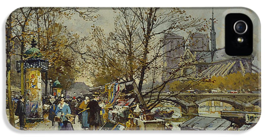 Rive Gauche IPhone 5 Case featuring the painting The Rive Gauche Paris With Notre Dame Beyond by Eugene Galien-Laloue