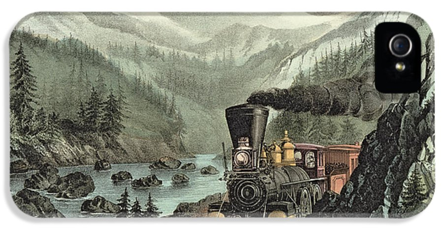 Cowcatcher IPhone 5 Case featuring the painting The Route To California by Currier and Ives