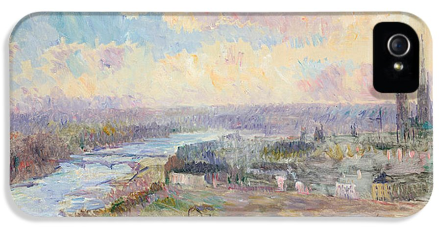 River IPhone 5 Case featuring the painting The Seine At Rouen by Albert Charles Lebourg