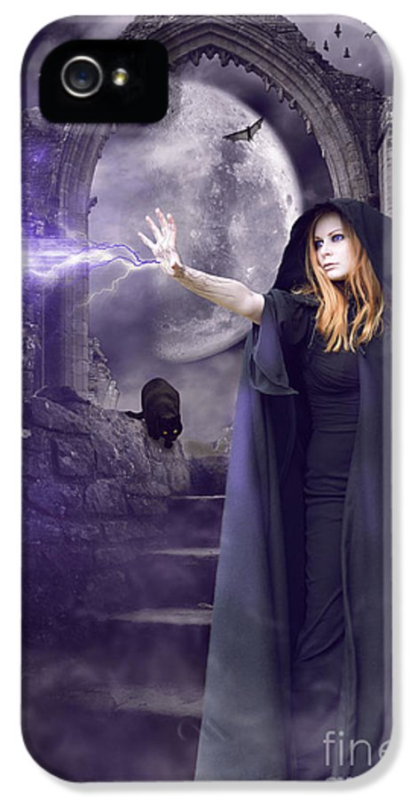 Halloween IPhone 5 Case featuring the digital art The Spell Is Cast by Linda Lees