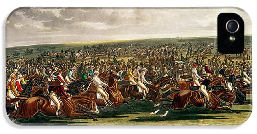 Horse Racing IPhone 5 Case featuring the painting The Start Of The Memorable Derby Of 1844 by Charles Hunt