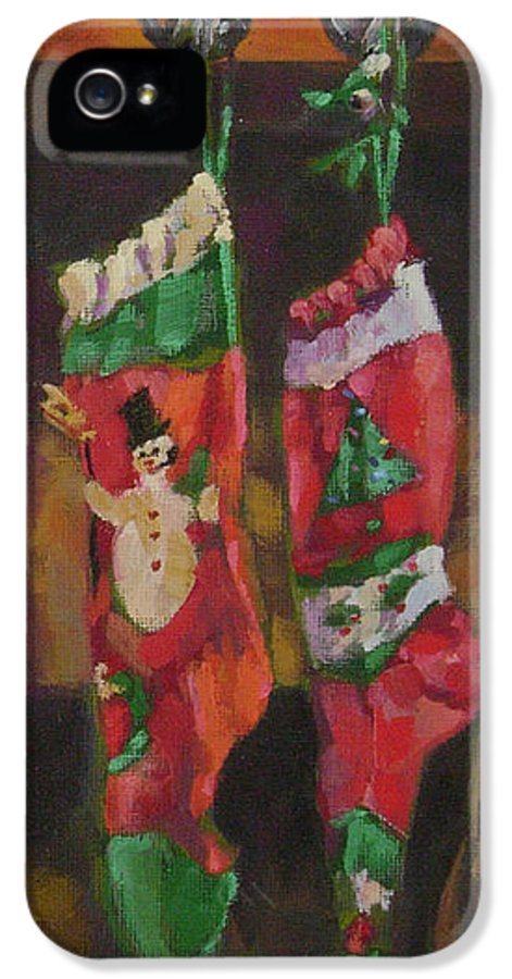 Christmas IPhone 5 Case featuring the painting The Stockings by Gloria Nilsson