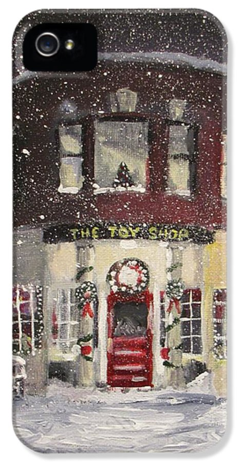 Christmas IPhone 5 Case featuring the painting The Toy Shop by Jack Skinner
