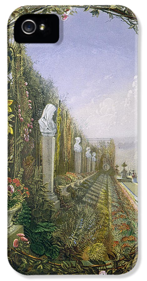 English Garden IPhone 5 Case featuring the painting The Trellis Window Trengtham Hall Gardens by E Adveno Brooke