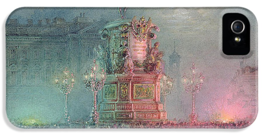 Tsar Nikolai IPhone 5 Case featuring the painting The Unveiling Of The Nicholas I Memorial In St. Petersburg by Vasili Semenovich Sadovnikov