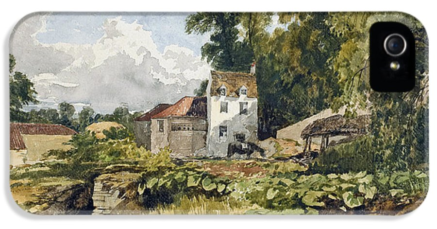 White; House; White House; Remote; Countryside; Rural; Lake; River; Riverbank; Pond; Green; Lush; Spring; Summer; Sunshine; Idyllic; Loose; Handling; English; British; IPhone 5 Case featuring the painting The White House by William James Muller