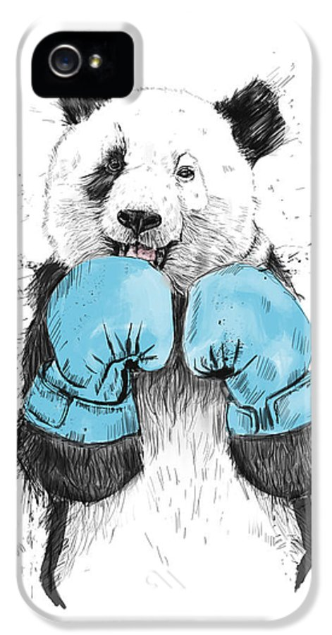 Panda IPhone 5 Case featuring the drawing The Winner by Balazs Solti
