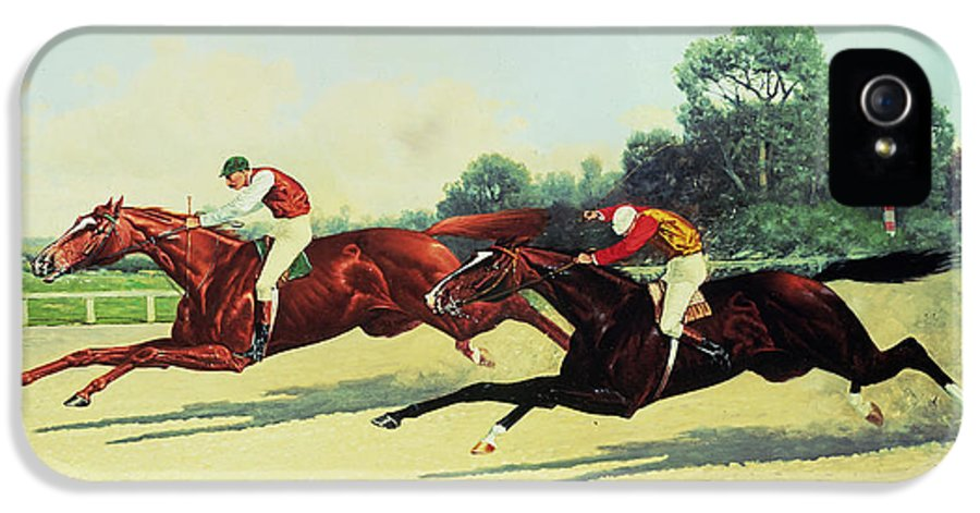 Crop IPhone 5 Case featuring the painting The Winning Post In Sight by Henry Stull