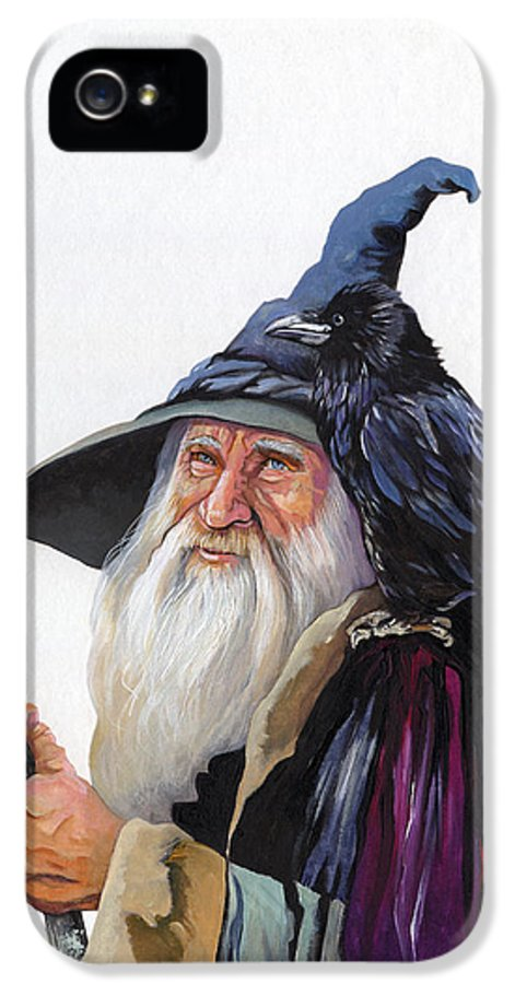 Wizard IPhone 5 Case featuring the painting The Wizard And The Raven by J W Baker