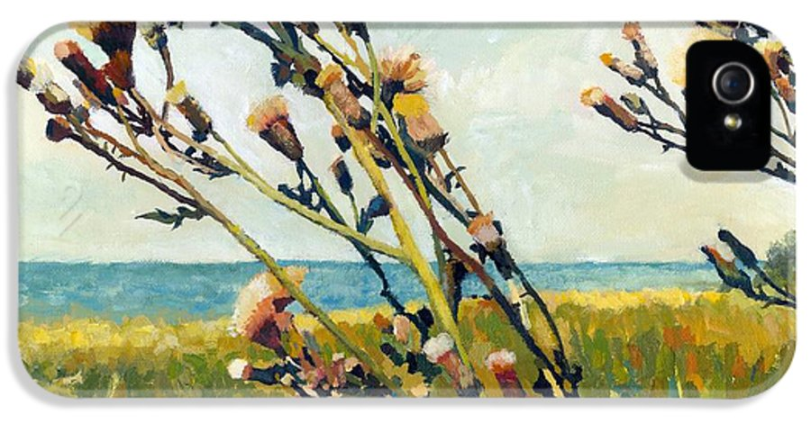 Horizon IPhone 5 Case featuring the painting Thistles On The Beach - Oil by Michelle Calkins