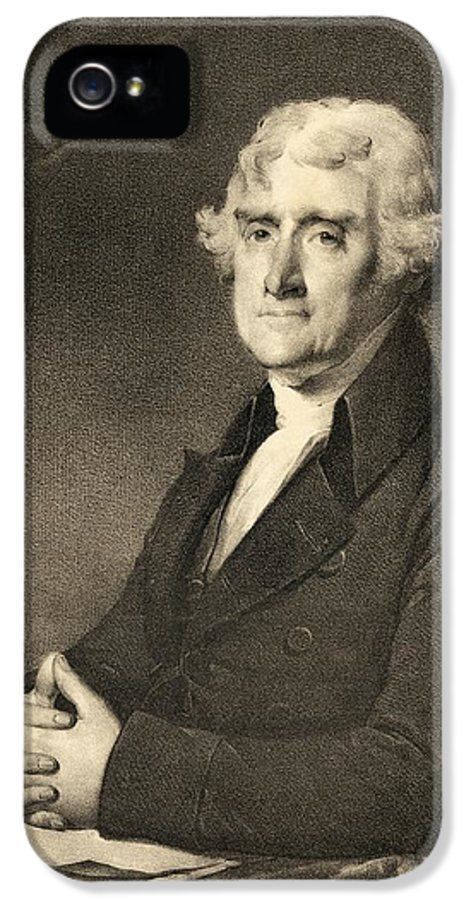 Thomas Jefferson IPhone 5 Case featuring the drawing Thomas Jefferson by American School
