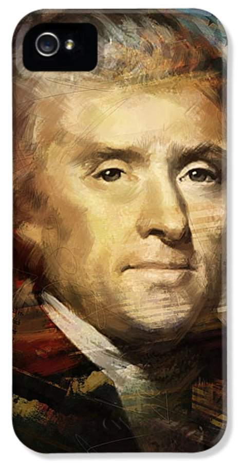 Thomas Jefferson IPhone 5 Case featuring the painting Thomas Jefferson by Corporate Art Task Force