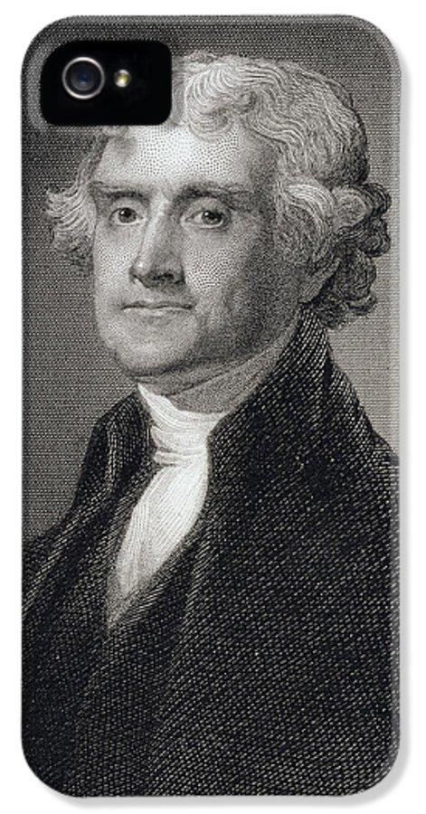 Thomas Jefferson IPhone 5 Case featuring the painting Thomas Jefferson by Gilbert Stuart
