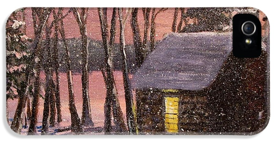 Thoreau's Cabin IPhone 5 Case featuring the painting Thoreau's Cabin by Jack Skinner