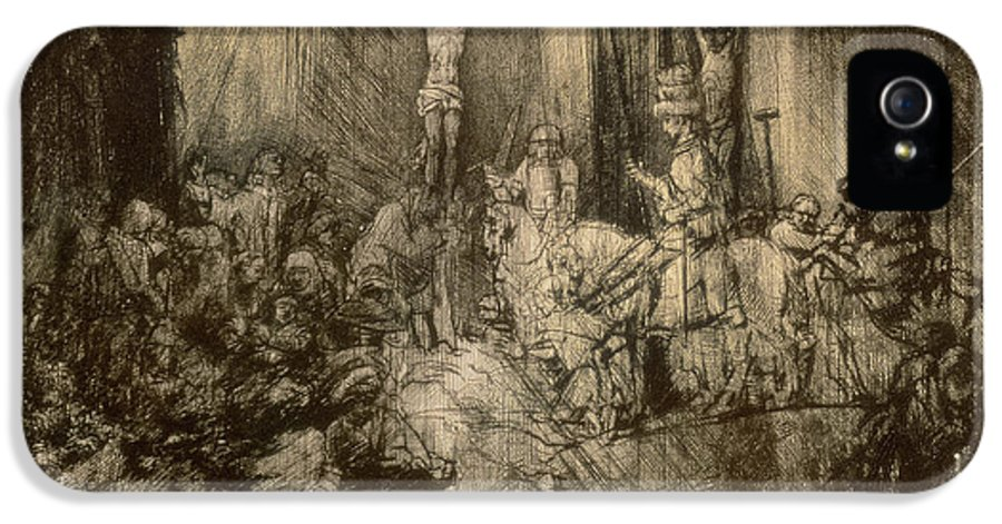 Christ IPhone 5 Case featuring the drawing Three Crucifixes by Rembrandt Harmenszoon van Rijn