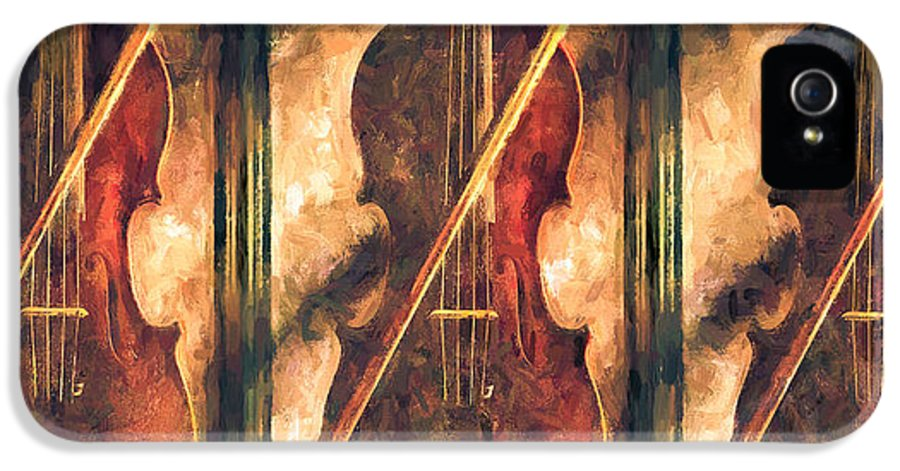 Violins IPhone 5 Case featuring the painting Three Violins by Bob Orsillo