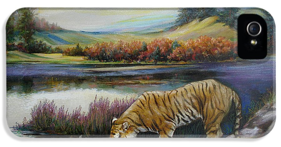 Siberian Tiger IPhone 5 Case featuring the painting Tiger By The River by Svitozar Nenyuk