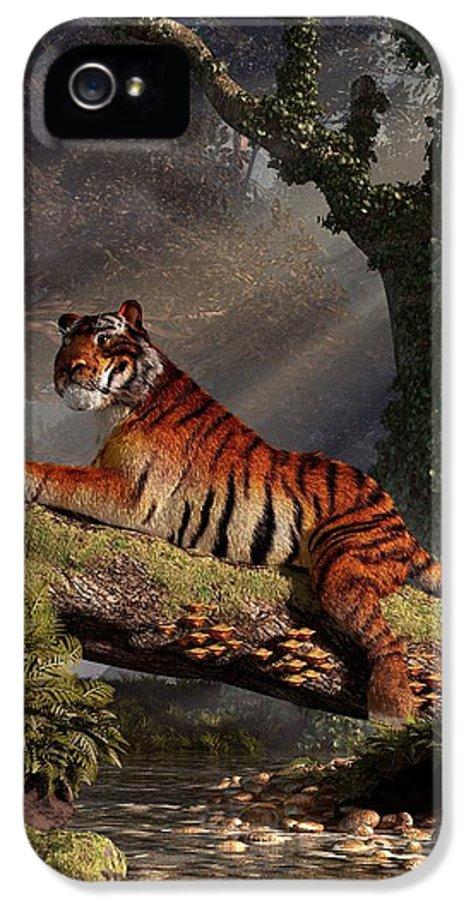 Tiger On A Log IPhone 5 Case featuring the digital art Tiger On A Log by Daniel Eskridge