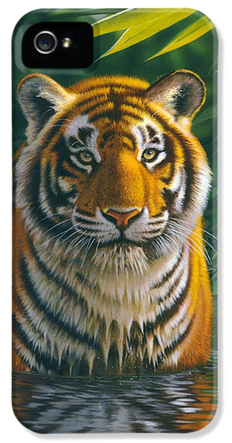 Animal IPhone 5 Case featuring the photograph Tiger Pool by MGL Studio - Chris Hiett