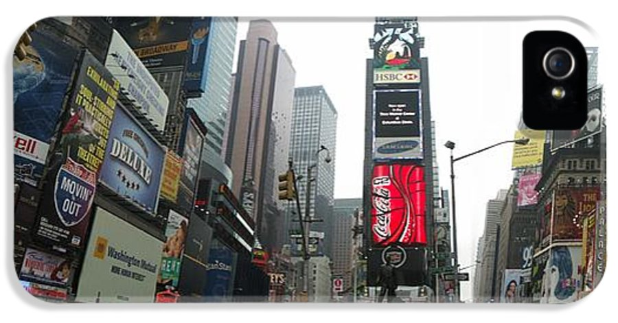 Advertising IPhone 5 Case featuring the digital art Times Square by Georgia Fowler