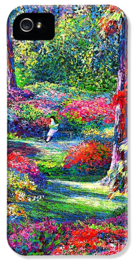 Garden IPhone 5 Case featuring the painting To Read And Dream by Jane Small