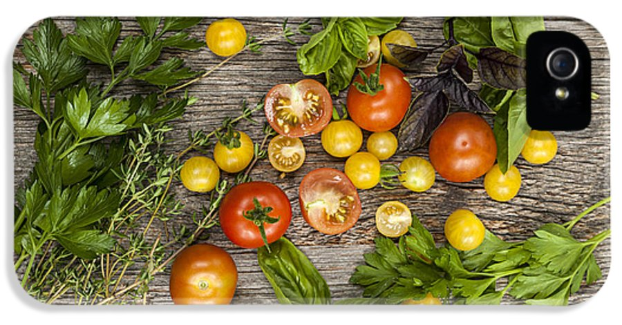 Tomatoes IPhone 5 Case featuring the photograph Tomatoes And Herbs by Elena Elisseeva