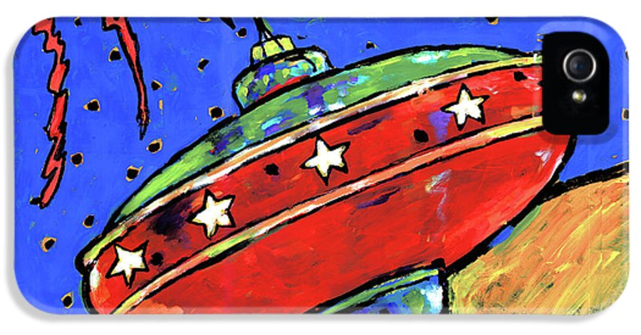 Toys IPhone 5 Case featuring the painting Top In Space by Dale Moses