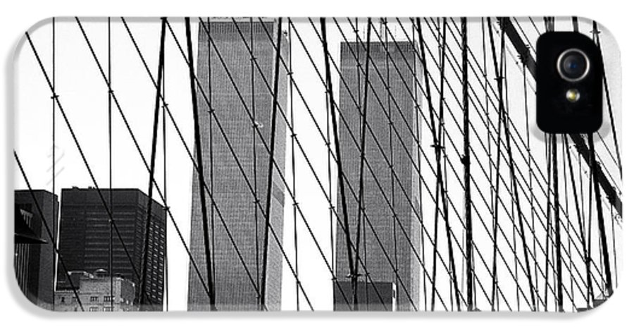 Towers From The Brooklyn Bridge IPhone 5 Case featuring the photograph Towers From The Brooklyn Bridge 1990s by John Rizzuto