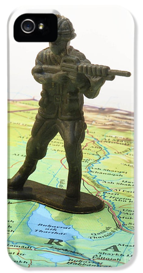 Aggression IPhone 5 / 5s Case featuring the photograph Toy Solider On Iraq Map by Amy Cicconi