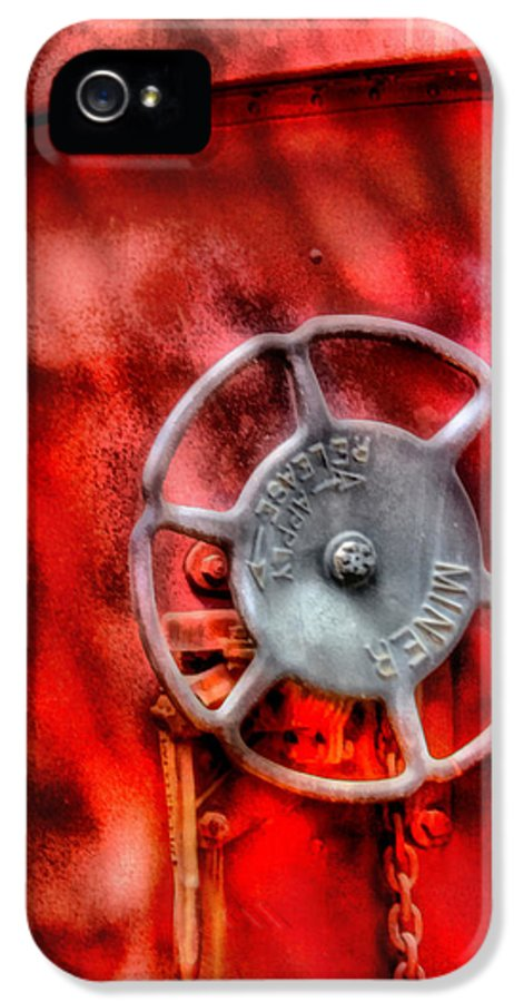 Savad IPhone 5 Case featuring the photograph Train - Car - The Wheel by Mike Savad