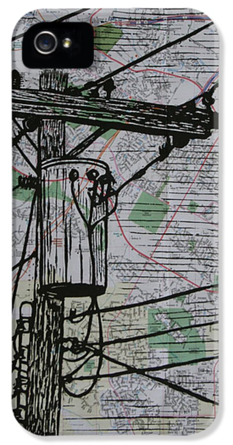 Power IPhone 5 Case featuring the drawing Transformer On Map by William Cauthern