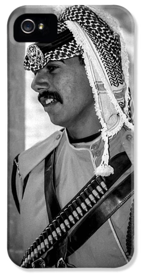 Jordan IPhone 5 Case featuring the photograph Treasury Guard At Petra by Paul Haist
