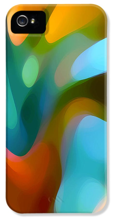 Abstract IPhone 5 Case featuring the painting Tree Light 3 by Amy Vangsgard
