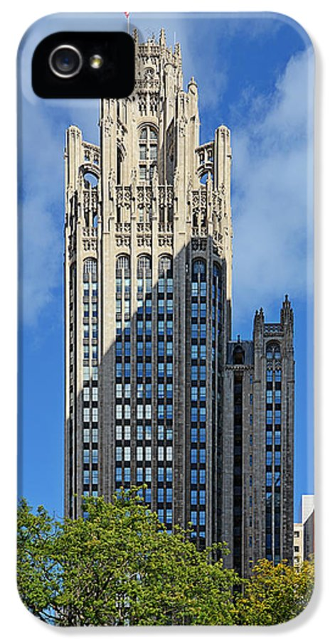 Michigan IPhone 5 Case featuring the photograph Tribune Tower Chicago - History Is Part Of The Building by Christine Till