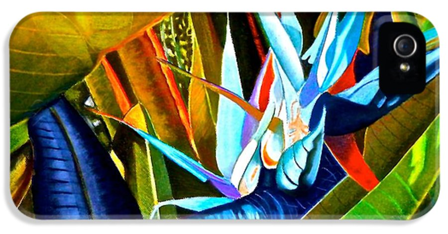 Bird Of Paradise IPhone 5 Case featuring the painting Tropical Paradise by Susan Robinson