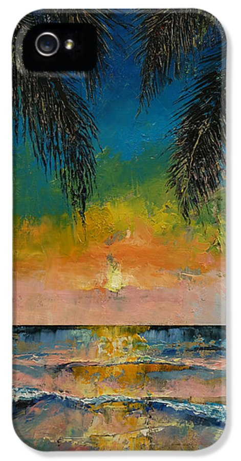 Abstract IPhone 5 Case featuring the painting Tropical Sunset by Michael Creese