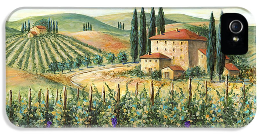 Tuscany IPhone 5 Case featuring the painting Tuscan Vineyard And Villa by Marilyn Dunlap