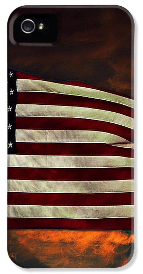 Flag IPhone 5 Case featuring the photograph Twilight's Last Gleaming by David Dehner