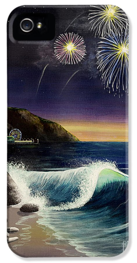 Amusement Pier IPhone 5 Case featuring the painting Twilight's Last Gleaming by Jack Malloch