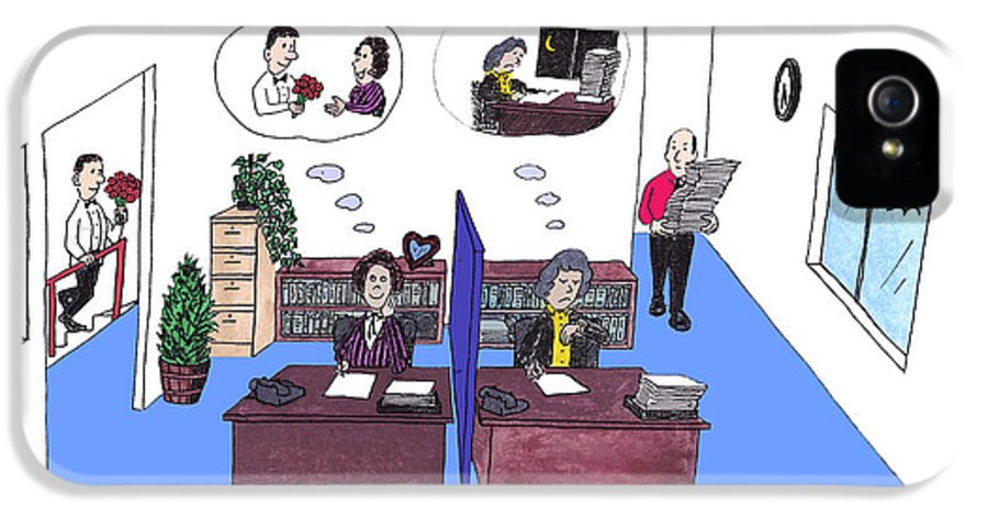 Work IPhone 5 / 5s Case featuring the drawing Two Female Office Workers Thinking by Lee Serenethos