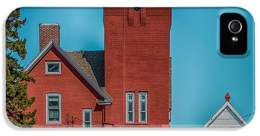 Blue IPhone 5 Case featuring the photograph Two Harbors Lighthouse by Paul Freidlund
