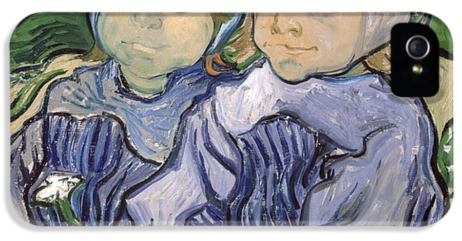 Portrait IPhone 5 Case featuring the painting Two Little Girls by Vincent Van Gogh