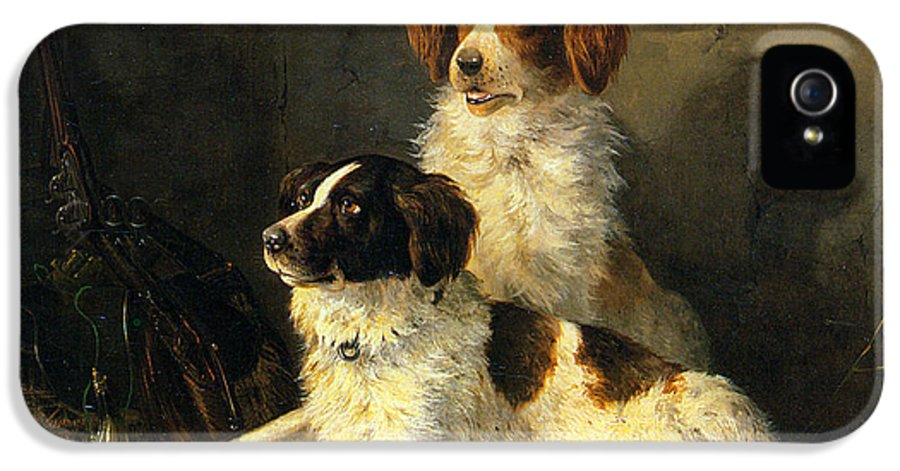 Two Spaniels Waiting For The Hunt IPhone 5 Case featuring the digital art Two Spaniels Waiting For The Hunt by Henriette Ronner Knip