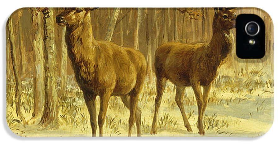 Two Stags IPhone 5 Case featuring the painting Two Stags In A Clearing In Winter by Rosa Bonheur