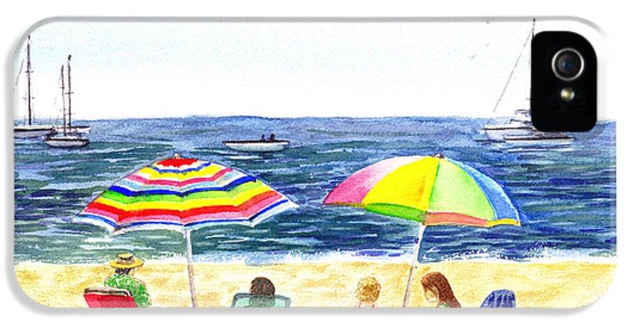 California IPhone 5 Case featuring the painting Two Umbrellas On The Beach California by Irina Sztukowski