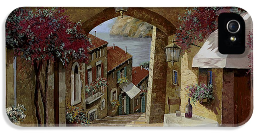 Streetscape IPhone 5 Case featuring the painting Un Bicchiere Sotto Il Lampione by Guido Borelli
