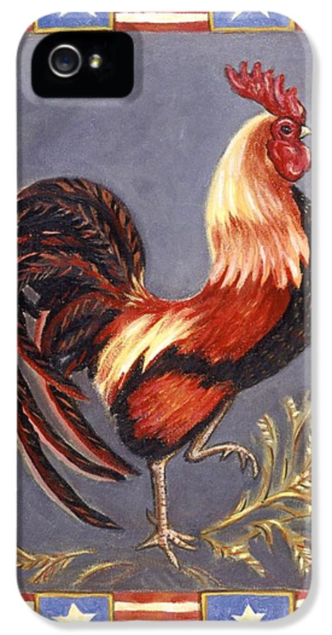 Rooster IPhone 5 Case featuring the painting Uncle Sam The Rooster by Linda Mears